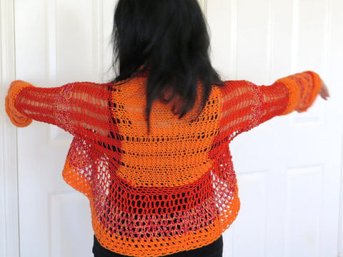 Lacy Orange and Red Shrug, Peplum Sweater Shrug