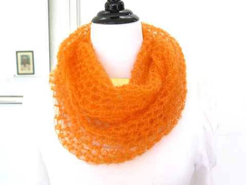 Bright Orange Silk Cowl, Hand Crochet Silk Mohair Loop Scarf, Gift under 40