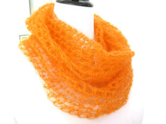Bright Orange Silk Cowl, Hand Crochet Silk Mohair Loop Scarf, Gift under 40 - PZM Designs
