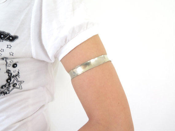 Silver upper arm anticlastic armlet, silver upper arm bracelet - PZM Designs