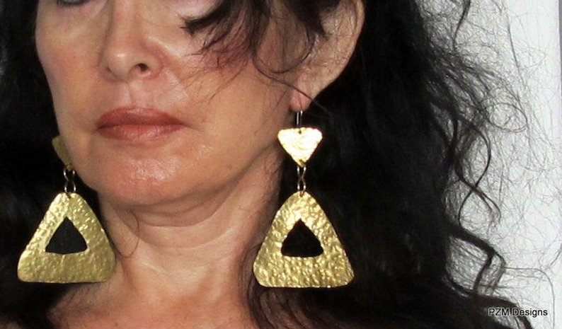 Large Hammered Triangle Earrings, Gold Brass Earrings