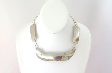 Silver tribal choker, ethnic hammered collar, artisan necklace