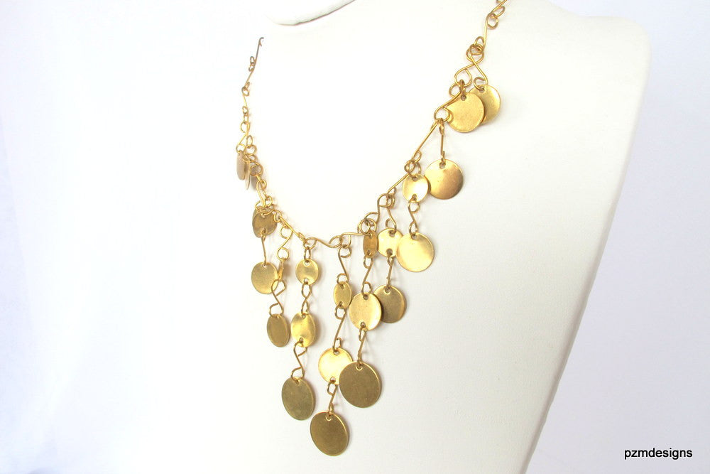 Gold gypsy coin necklace