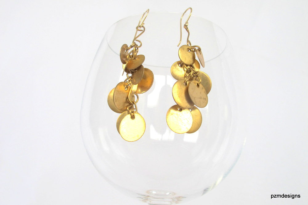 Gold coin earrings, long drop belly dancing earrings, modern tribal jewelry