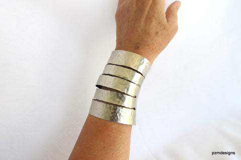Hammered silver cuff, wide non tarnish silver armband, modern tribal jewelry