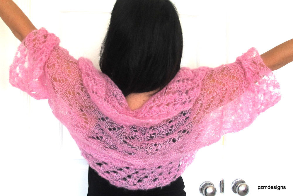 Light Pink silk shrug, hand knit kid mohair and silk sweater shrug, luxury knitwear by PZM Designs - PZM Designs
