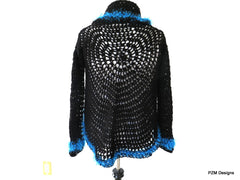 Black Circle Shrug with Blue Fur Trim, Gift for Her - PZM Designs