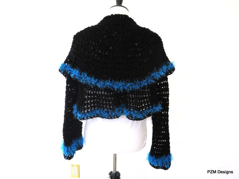 Black Circle Shrug with Blue Fur Trim, Gift for Her