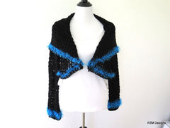 knitwear, Black crochet circle shrug