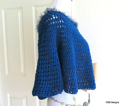 Blue Teal Poncho, Short Crochet Circle Poncho, Gift for Her - PZM Designs