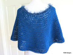 Blue Teal Poncho, Short Crochet Circle Poncho, Gift for Her