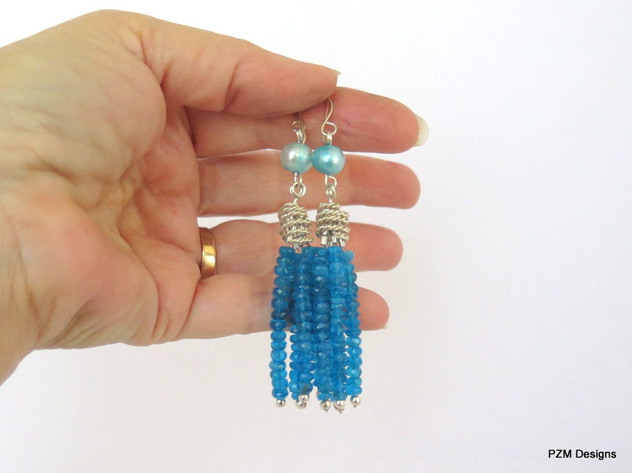 Neon Apatite Tassel Earrings with Blue Pearl Accents, Art Deco Style fine jewelry - PZM Designs