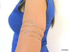 Triple coil armband, silver hammered upper arm tribal armlet - PZM Designs
