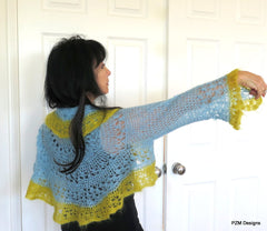 Light Blue Mohair Shrug, Crochet Circle Silk Shrug - PZM Designs