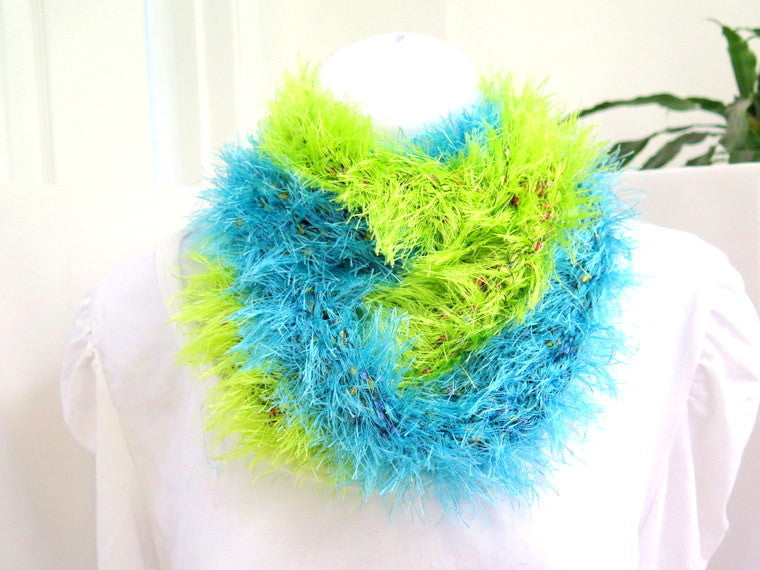 Blue and Green Fur Infinity Scarf, Vegan Fur hand crochet loop scarf cowl - PZM Designs