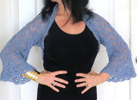 Blue Grey Lace Shrug