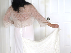 Silk Bridal Shrug, White Silk Mohair Lace Bridal Bolero Shrug