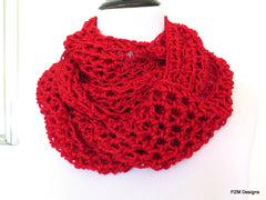Sparkly Red Infinity Scarf, Gift for Her - PZM Designs