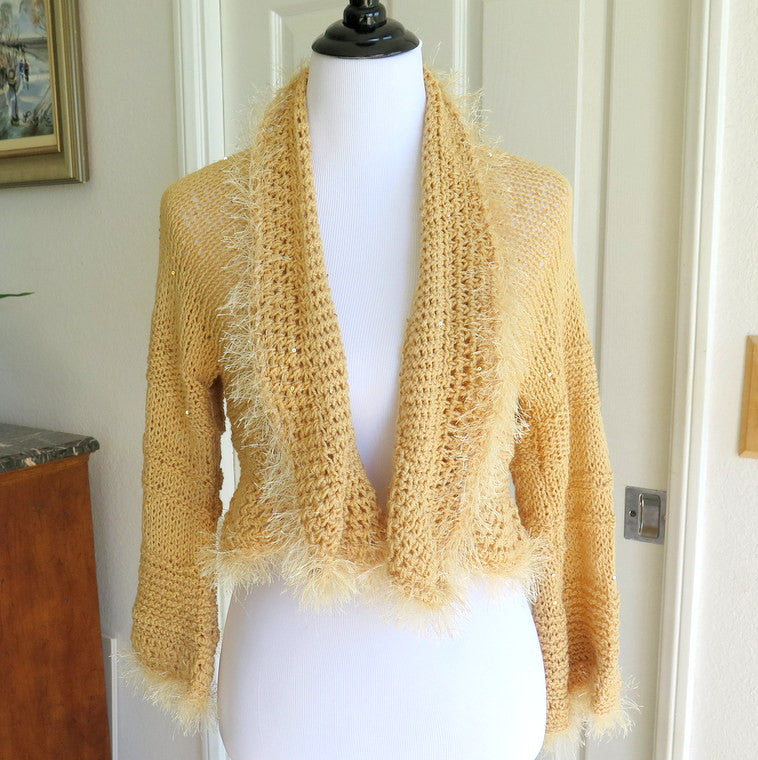 Sparkly Beige Shrug with Sequins and Fur, Gift for Her - PZM Designs