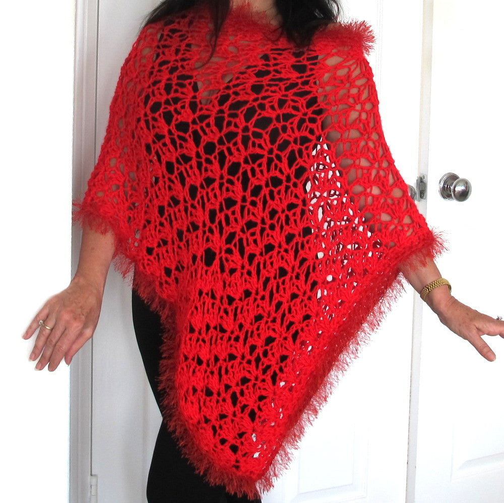 Red Crochet Lacy Poncho with fur trim, Asymmetrical Crochet Evening Wrap, Gift for Her - PZM Designs