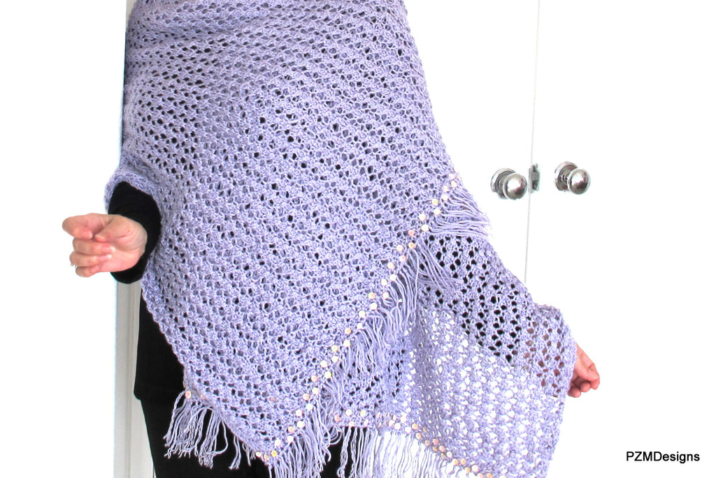 Large Hand Knit Lilac Shawl with Sequins