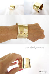 Gold wrist cuff, hand forged brass armband, artisan crafted tribal cuff - PZM Designs