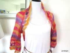 Pastel mohair sweater, silk mohair hand knit shrug, luxury fine knitwear - PZM Designs