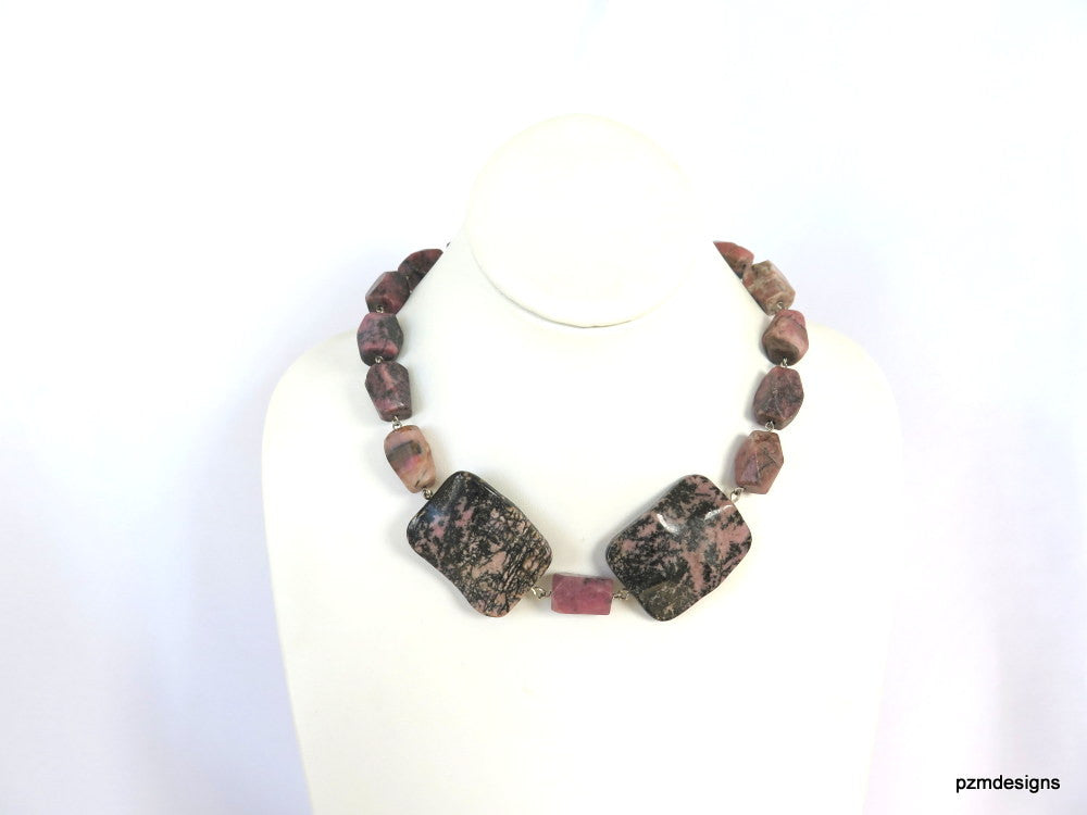 Rhodonite chunky necklace