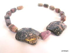 Chunky Rhodonite Statement Necklace, Boho Chic Pink Rhodonite Gemstone Necklace, Gift for Her - PZM Designs