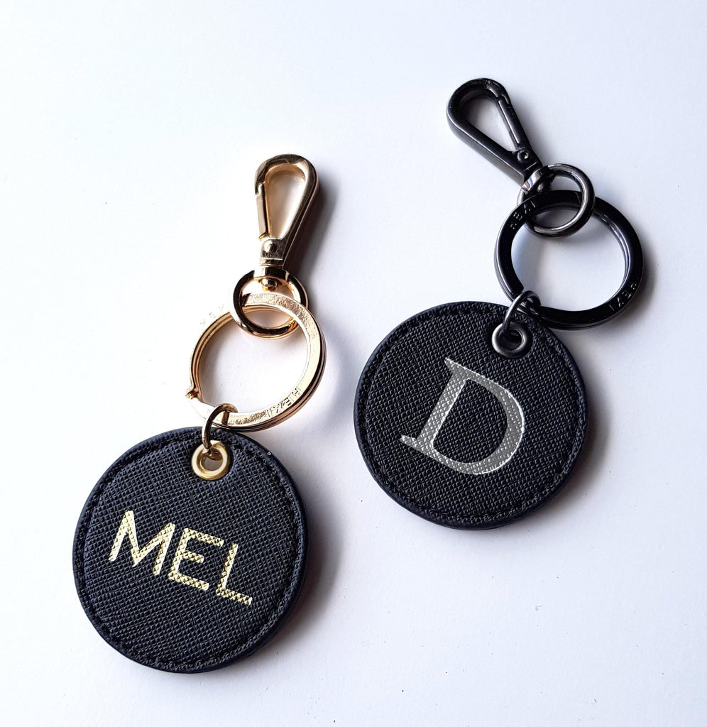 Black Leather custom Keyring