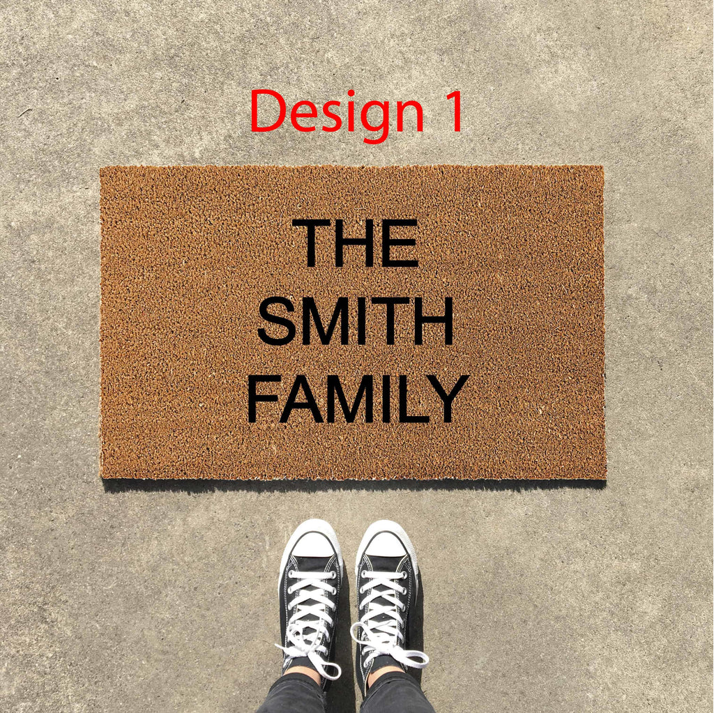 custom family name doormats