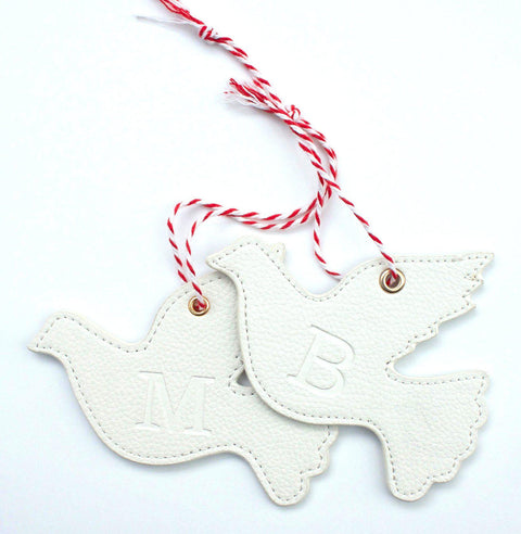 Pair of leather Turtle Dove Xmas decorations