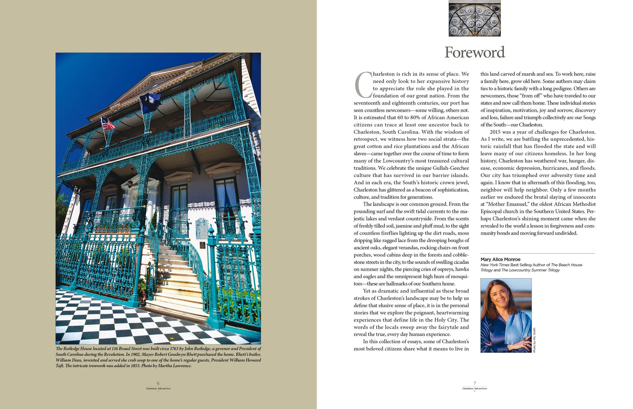 Rutledge House and Mary Alice Monroe foreword in Charleston Salt and Iron book Starbooks