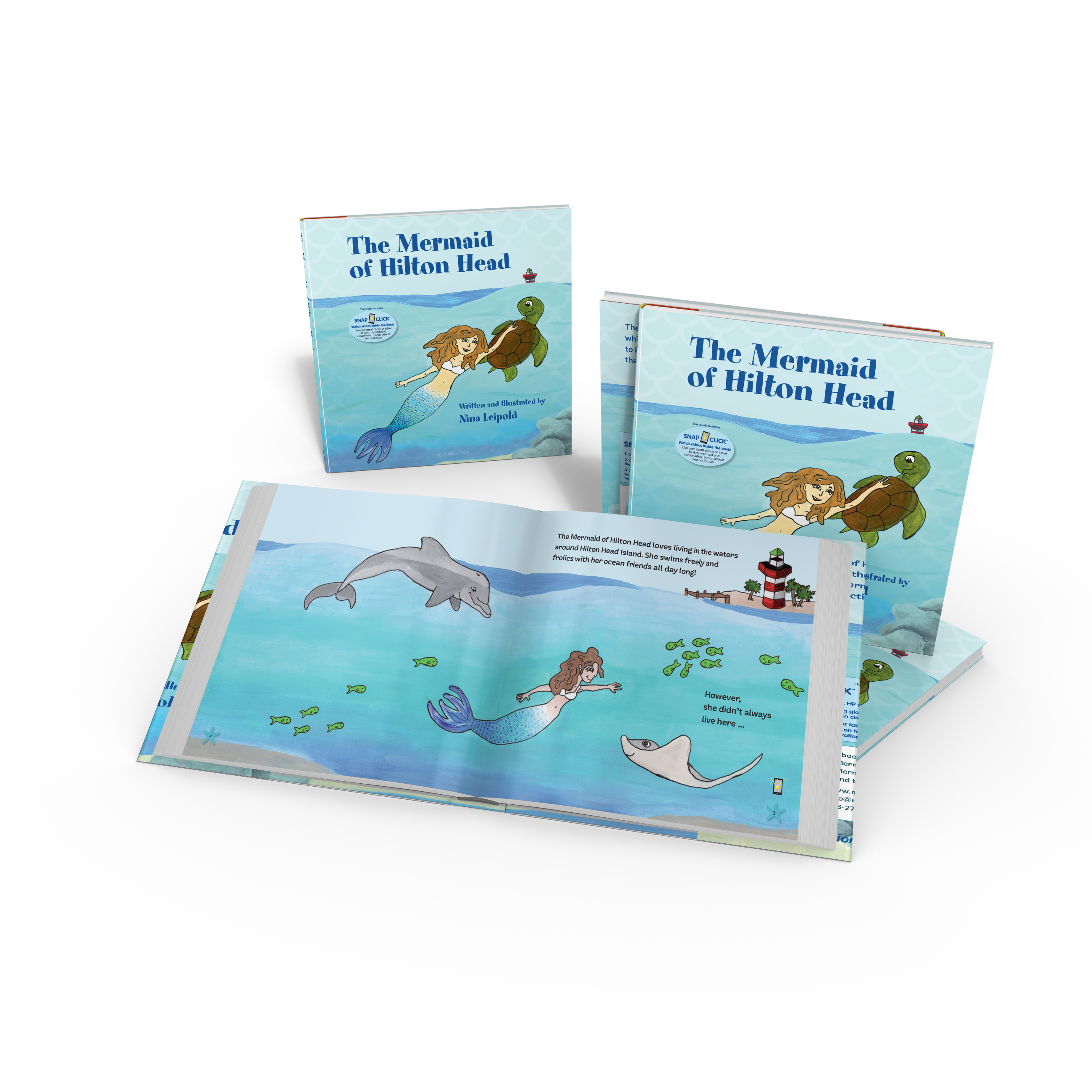 Mermaid Nina swimming: The Mermaid of Hilton Head by Nina Leipold with Augmented Reality Starbooks