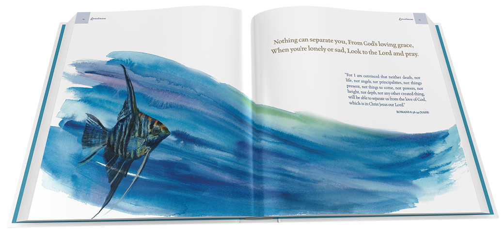 Still Before the Dawn inspirational book. Fish watercolor. Loneliness topic. Author Jody Reichel Starbooks