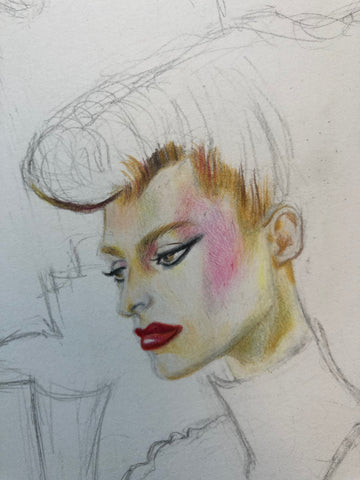 Colour pencil face fashion illustration