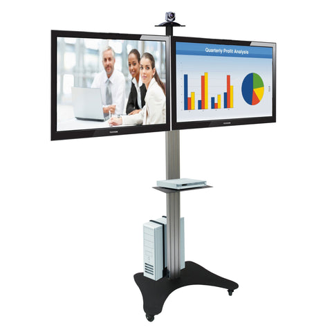 LCD Double TV Floor Stand Trolley (UPT2)