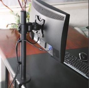 Full Motion Single Monitor Desk Mount Adjustable/Tilt/Articulating for 1 Screen up to 27""