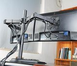 Dual Monitor Stand, Free Standing Height Adjustable Two Arm Monitor Mount for Two 13 to 27 inch LCD Screens with Swivel and Tilt - Model EF002
