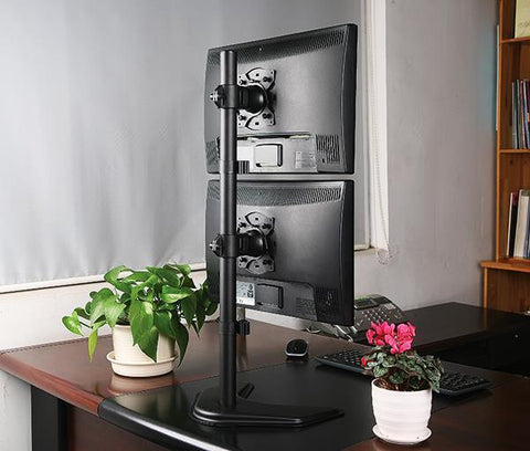 "Dual Monitor Desk Stand Free-Standing LCD Mount, Holds in Vertical Position 2 Screens up to 30"" Hongkong EF002V"