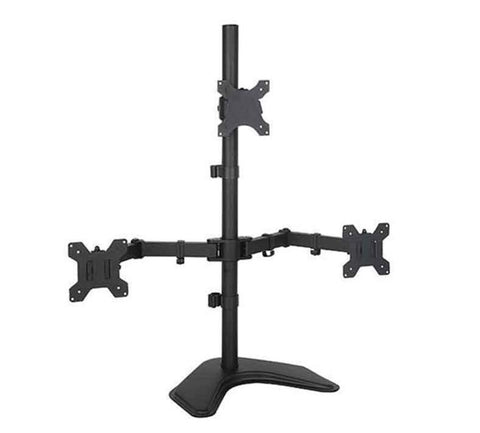 Triple LCD LED Computer Monitor Desk Stand | Free Standing Heavy Duty Fully Adjustable Mount for 3 Screens up to 30 inches (Vertical 2 * 1) (EF003T)