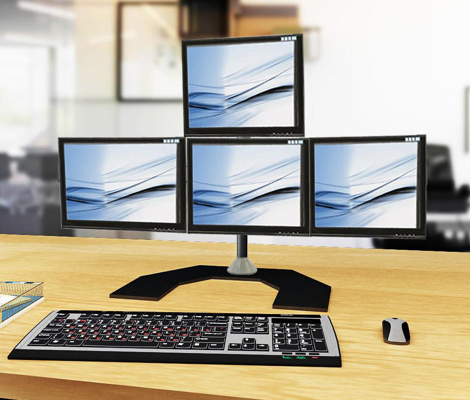 Four Monitor Stand - Freestanding & Horizontal (4MS-FH)