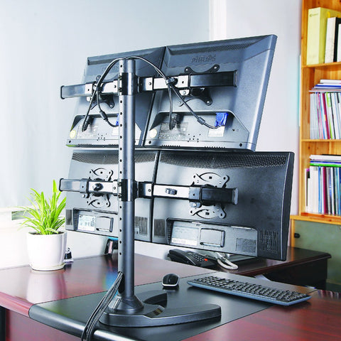 Premium Four Monitor stand - Freestanding (4MS-FHW)