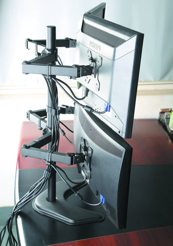 Quad Monitor Desk Stand Mount Full Motion Articulating Arm 4 LCD Computer Displays, Fits 17, 19, 20, 22, 23, 24, 27 Inch, Fits Vesa 75 100, Swivel, Rotate, Tilt, Black Hongkong EF004