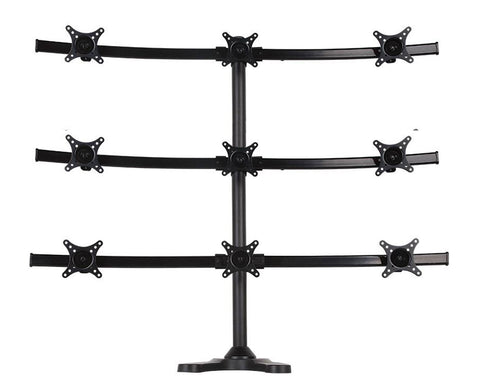 Nine Monitor Stand - Freestanding with White Wider Arm (9MS-FW)