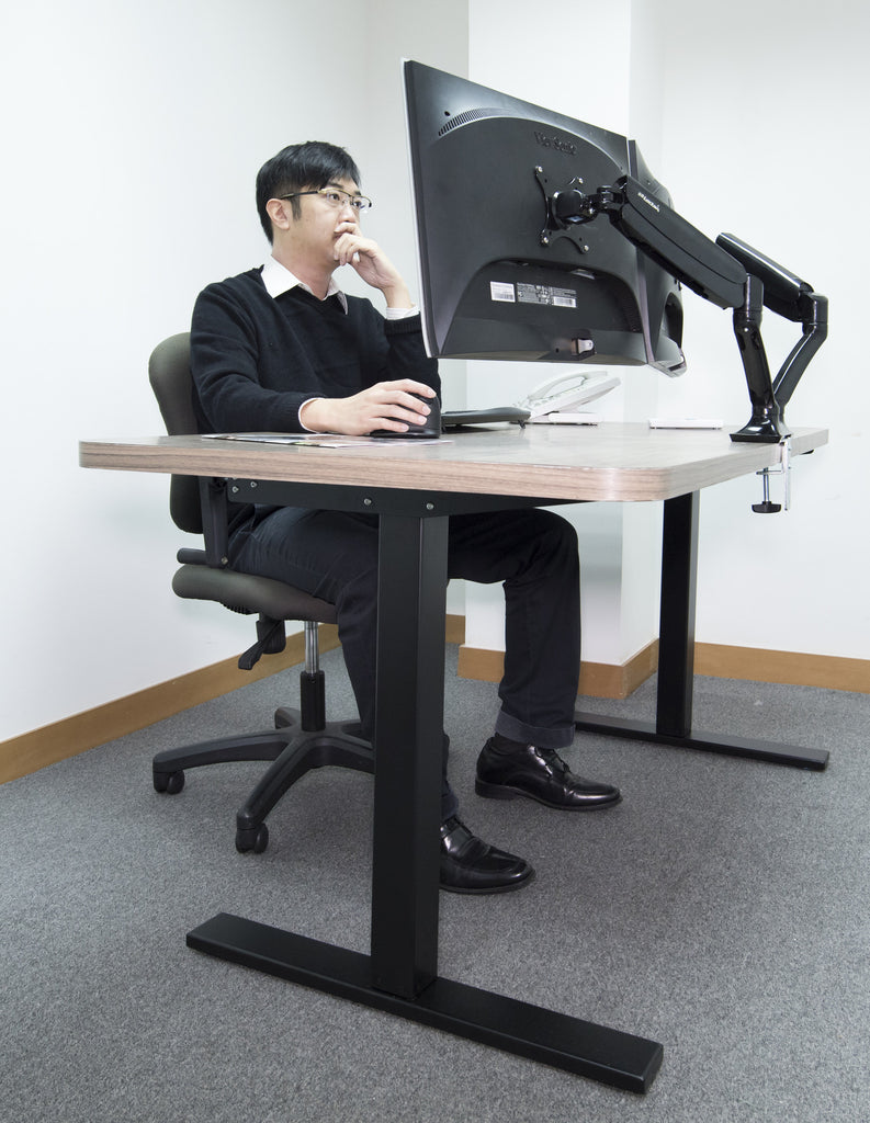 manually adjustable standing desk with hand crank rct display stands india. Black Bedroom Furniture Sets. Home Design Ideas