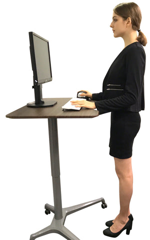 Pneumatic Sit-Stand Mobile Desk Portable Gas Lift Height Adjustable Table