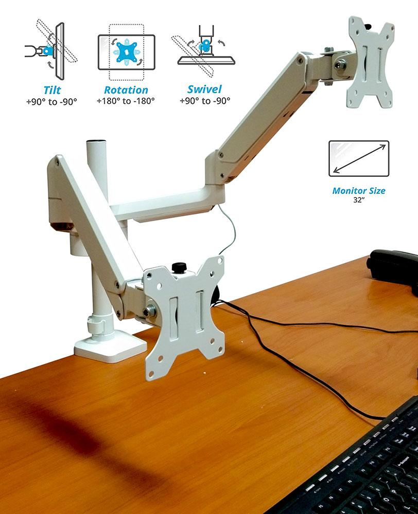 "Full Motion Aluminum Dual Monitor Stand, Articulating Gas Spring Vesa Mount Stand with Heavy Duty C-Clamp Base, Hold Up to 27"" Screens, Up to 17.6 lbs Per Arm, White"