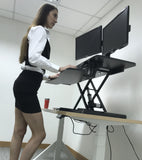 Electric Height Adjustable X-Lift Sit-Stand Desk Converter with Dual Monitor Mount, Fits Two 17 to 27 Inch Computer Monitors, Black Model No (RTE-2MC)