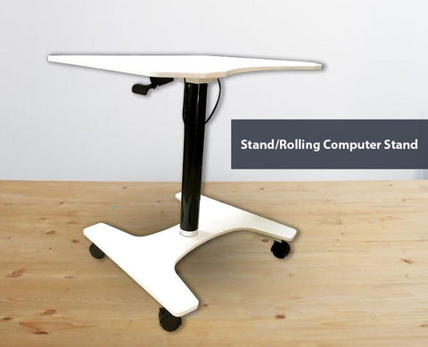 Ajustable Sit-Stand Laptop Desk Workstation Muti-Purpose Rolling Podium Lectern with Wheels Laptop Workstation, White